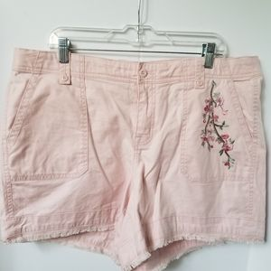 Lane Bryant Pink Embroidered Girlfriend Shorts